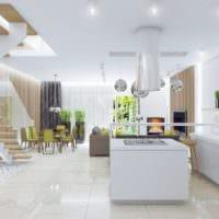 стиль хай тек в кухне гостиной