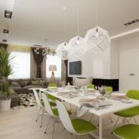 гармоничный интерьер столовой гостиной