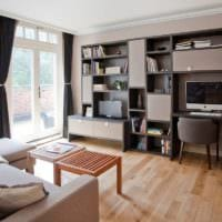 дизайн гостиной с рабочим местом