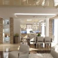 гостиная столовая в теплых тонах