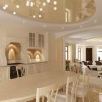 дизайн потолка гостиной столовой