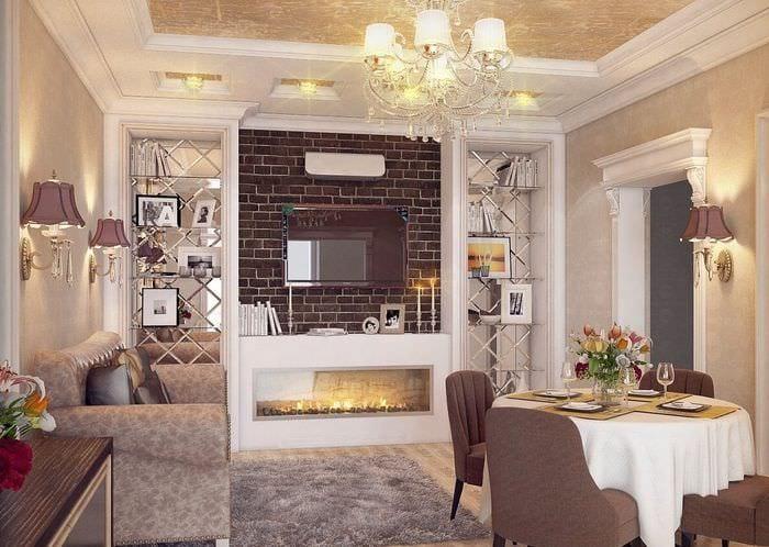 классический интерьер гостиной столовой и кухни