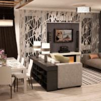 гостиная столовая в красивом оформлении