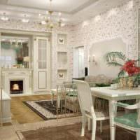 классический стиль на кухне столовой гостиной