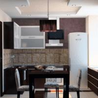 сочетание материалов кухня 6 кв метров
