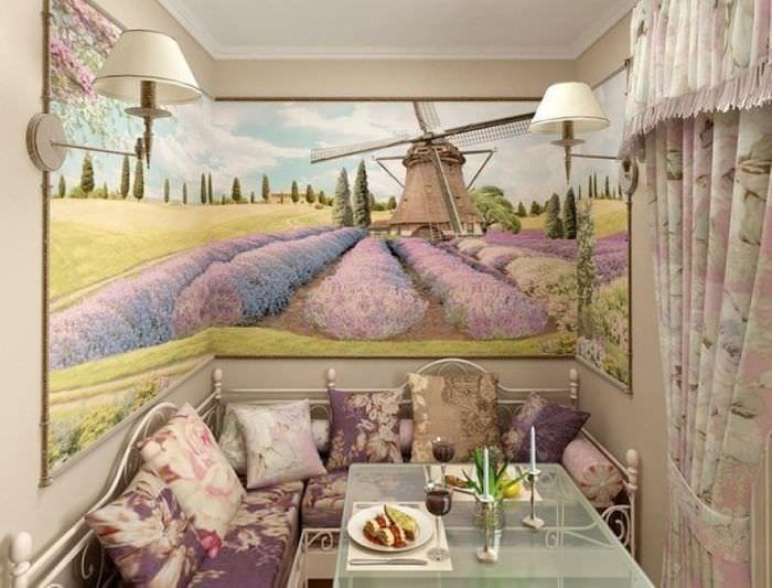 фотообои на кухне с диваном