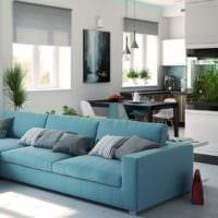 кухня столовая голубой дизайн