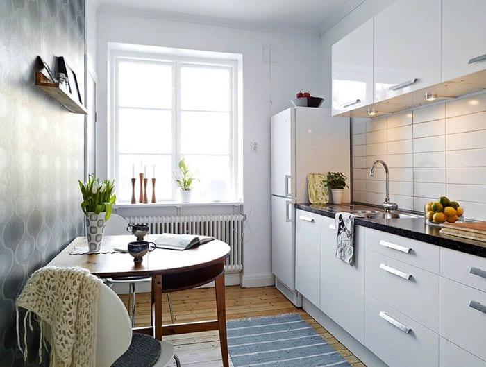удобный дизайн маленькой кухни