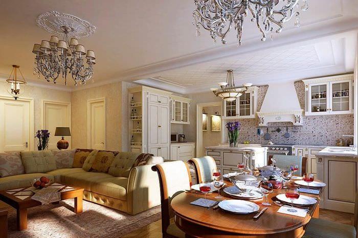 интерьер гостиной столовой кухни