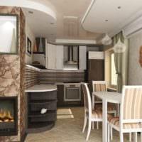 большая кухня в дизайне однокомнатной квартиры