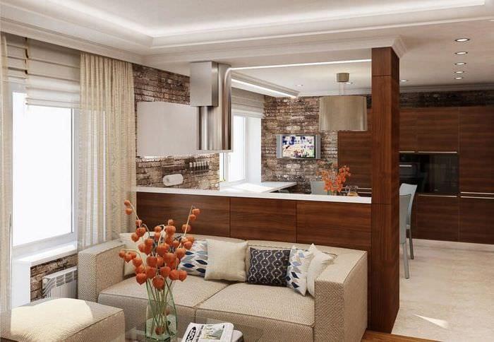 вариант интерьера кухни столовой гостиной