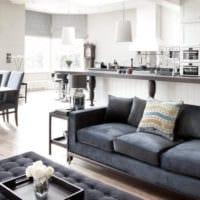 оттенки серого в дизайне гостиной столовой