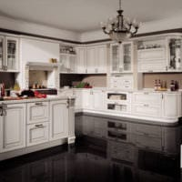 кухня с темным полом