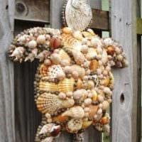 декор из ракушек черепаха