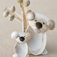 декор из ракушек мишки