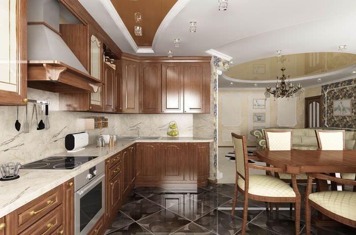 дизайн интерьера гостиной кухни