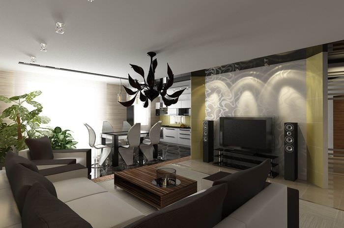 дизайн гостиной столовой модерн