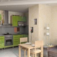 дизайн кухни с вентиляционным коробом зеленые
