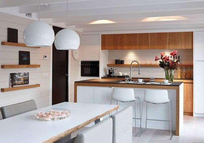 дизайн кухни столовой белый цвет и дерево