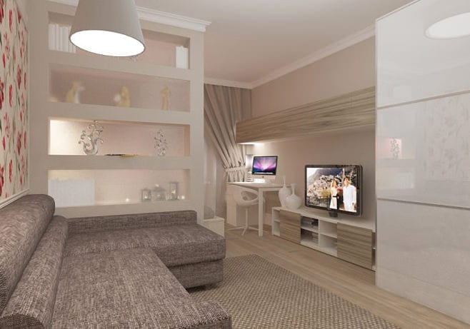 дизайн небольшого зала гостиной