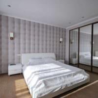 дизайн спальни с серыми обоями фото