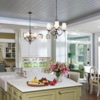 дизайн кухни студии с гостиной