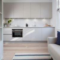 дизайн кухни студии в белых тонах