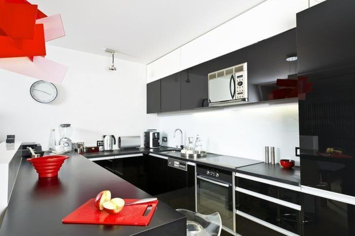 красно черная кухня