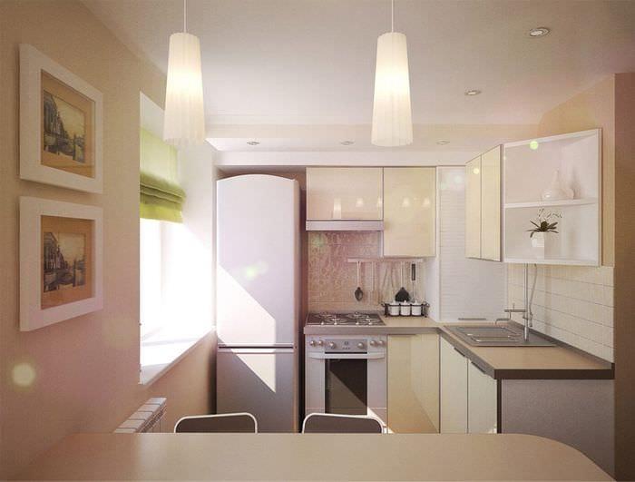 дизайн кухни 5 кв м с холодильником