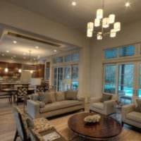 дизайн кухни гостиной в частном доме фото