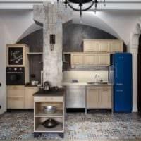 дизайн кухни с вентиляционным коробом фьюжн