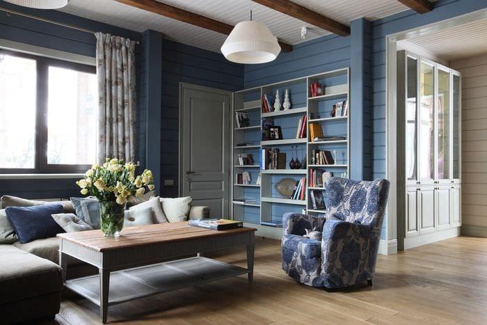 гостиная кабинет с серыми обоями