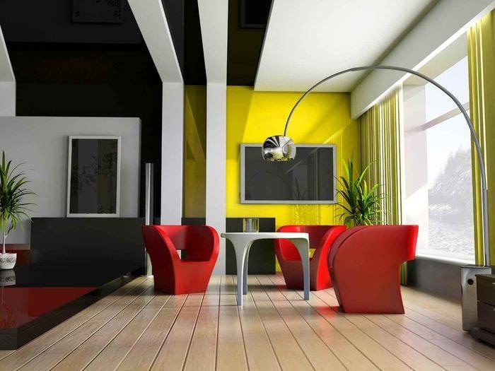 идея использования необычного желтого цвета в интерьере квартиры