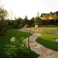 пример применения оригинальных садовых дорожек фото