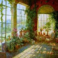пример использования необычных идей оформления зимнего сада в доме картинка