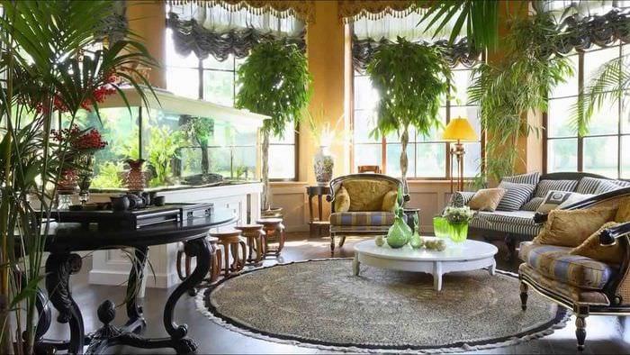 вариант применения необычных идей оформления зимнего сада в доме