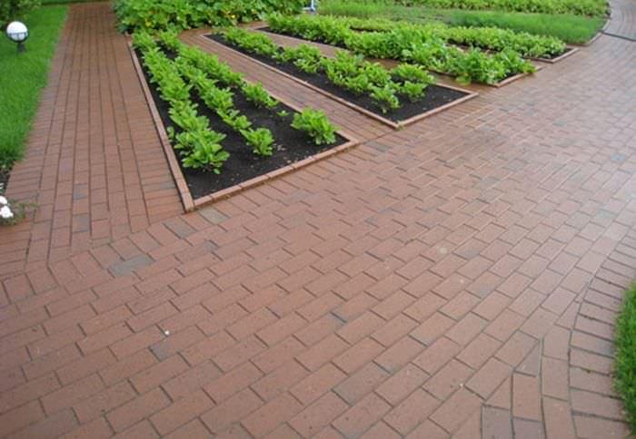 идея использования ярких садовых дорожек