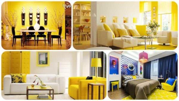 вариант применения красивого желтого цвета в декоре квартиры фото