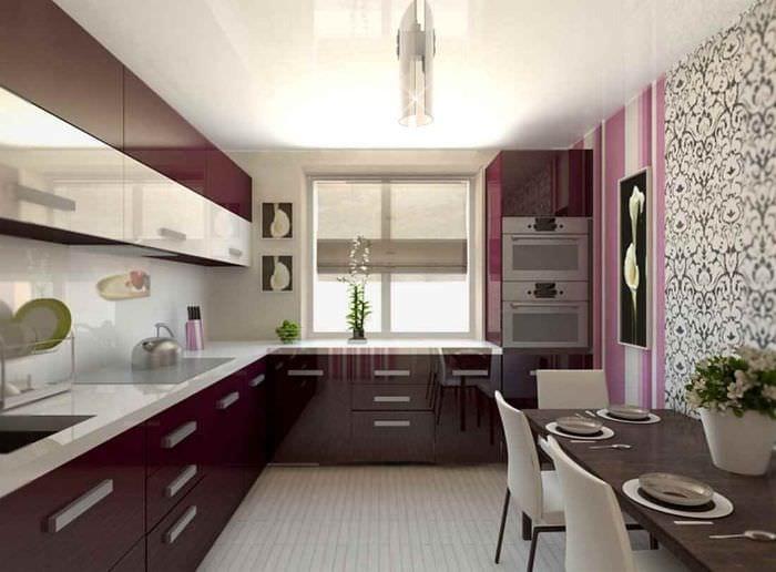 идея яркого дизайна кухни 12 кв.м