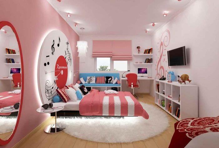 пример необычного стиля детской комнаты для девочки