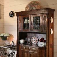пример необычного интерьера кухни в деревенском стиле картинка