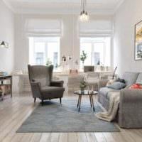вариант яркого интерьера квартиры в скандинавском стиле фото