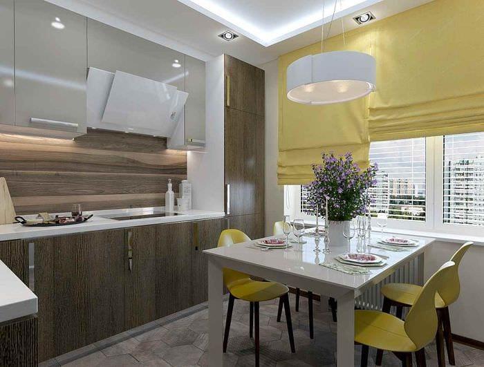 пример красивого стиля кухни 10 кв.м. серии п 44