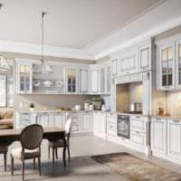 идея светлого стиля кухни в классическом стиле фото