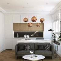 пример красивого дизайна квартиры студии 26 квадратных метров картинка