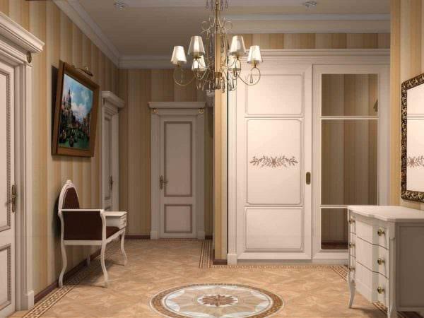 пример красивого дизайна прихожей в частном доме картинка