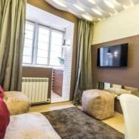 вариант светлого дизайна гостиной спальни картинка