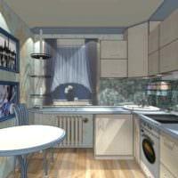 пример яркого дизайна кухни 11 кв.м фото