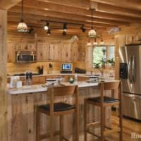 пример яркого интерьера кухни в деревянном доме картинка