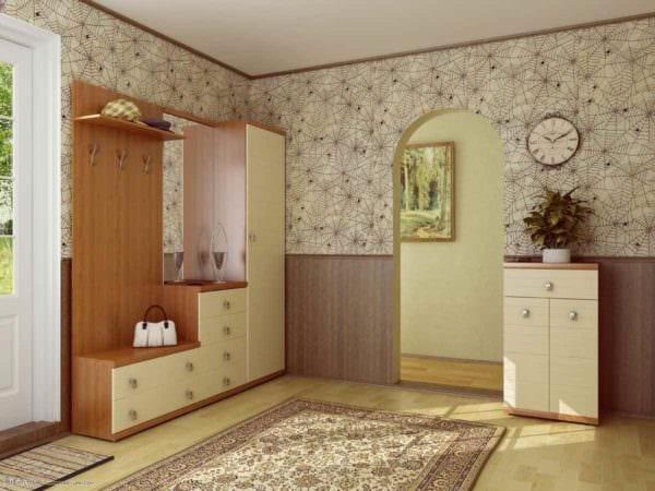 вариант красивого дизайна прихожей в частном доме картинка